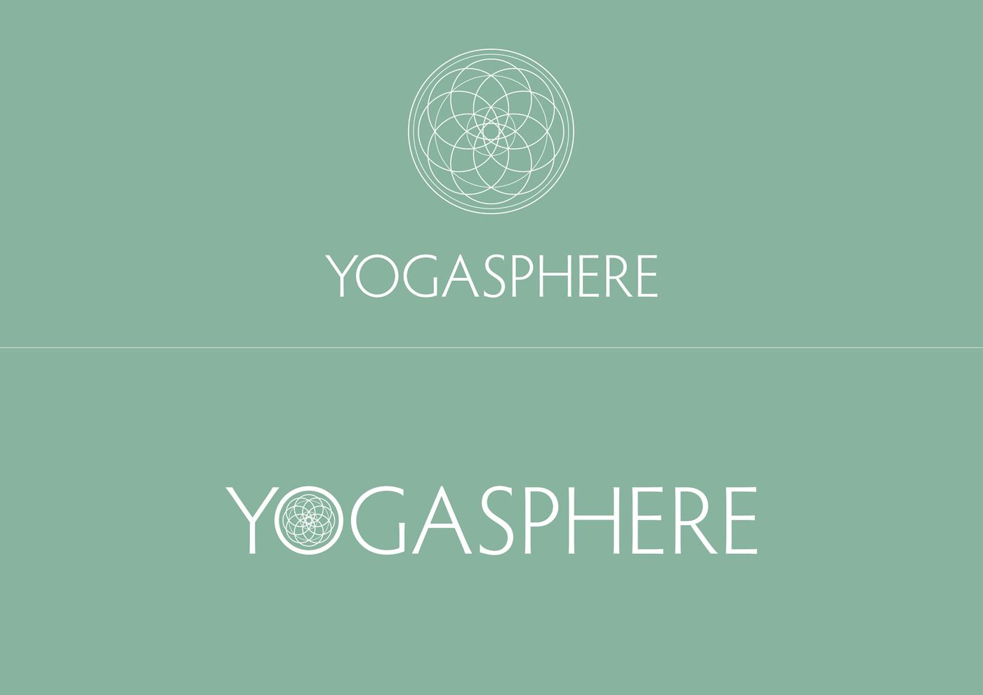 Yogasphere - White logo on teal background