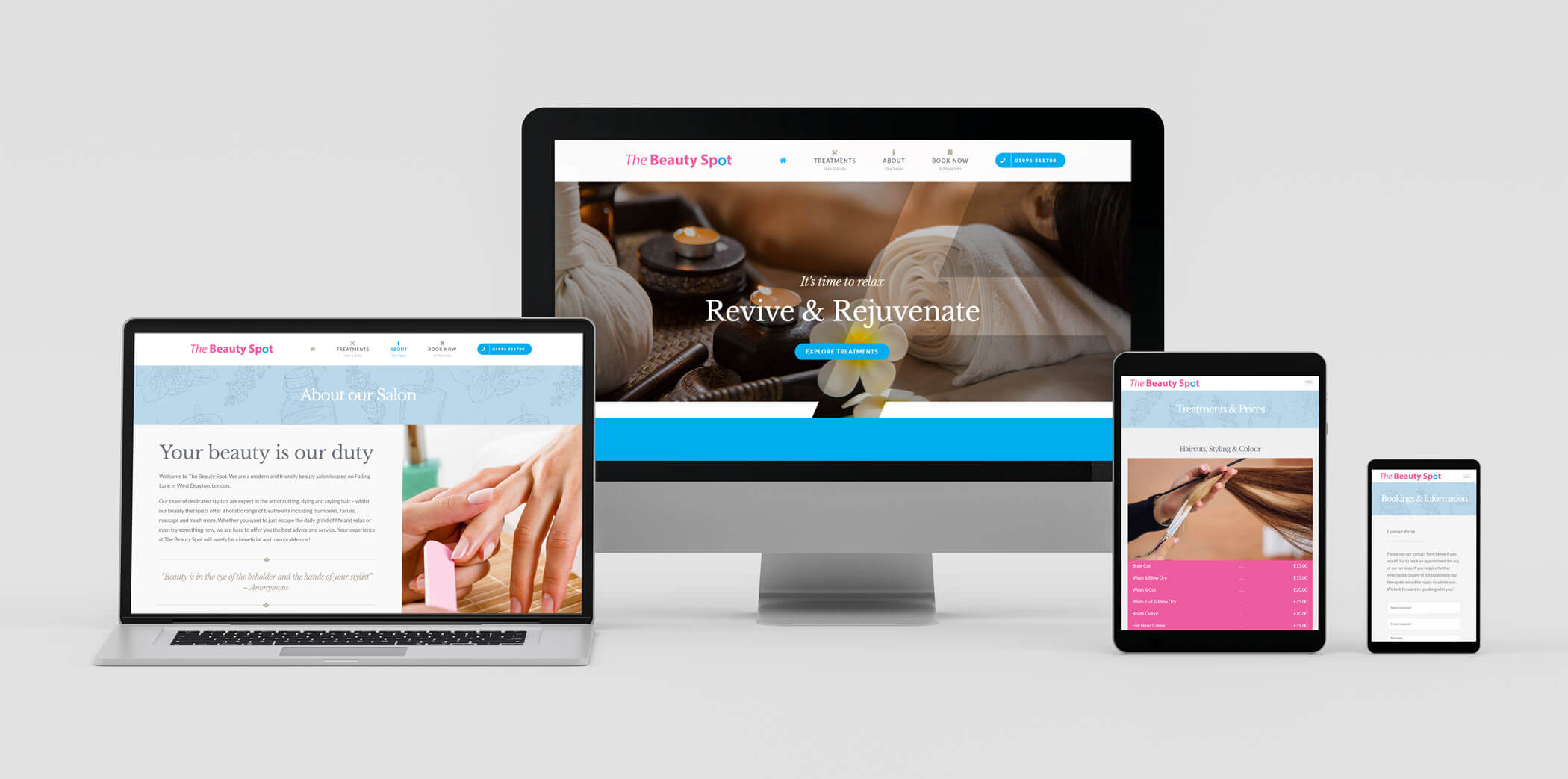 Responsive Web Design on Various Devices for a Beauty Salon in London