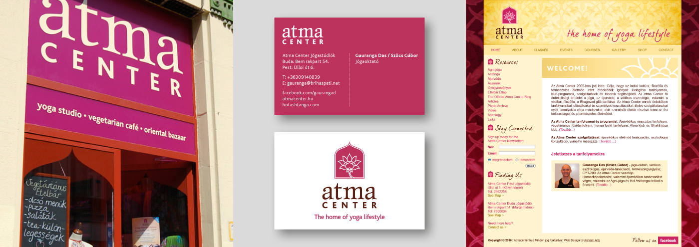 Atma Center - Business Card Design, Signage and Web Mockup