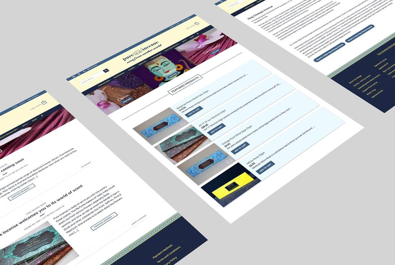 Web Design Views for Pure Incense