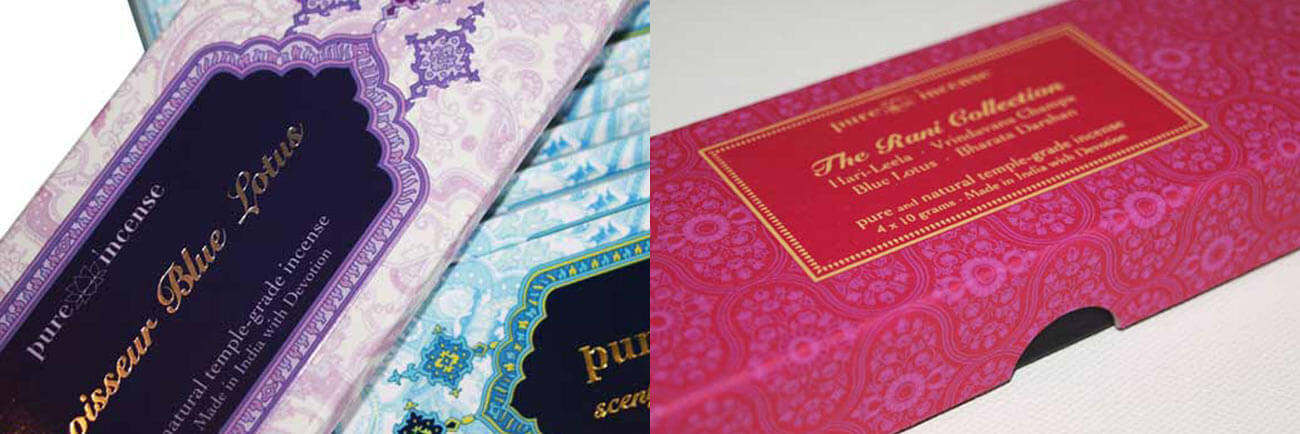 Printed Carton and Box for an Incense Company - They Feature Screen Printing, UV, Laminate and Metallic Foil