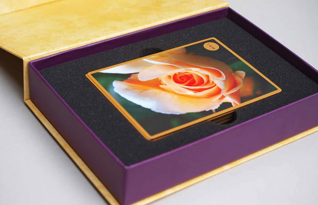 Box Set Design and Printing - Gold Gilted Cards in Foam Insert