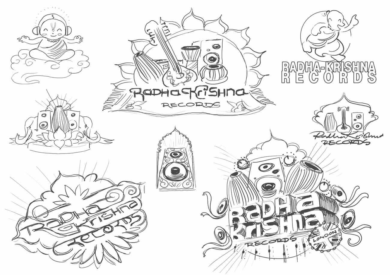 Radha Krishna Records - Logo Sketched Concepts