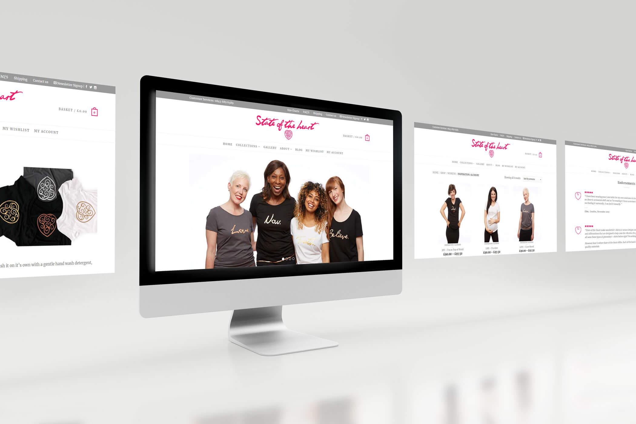 Web Design - Desktop Views for a T Shirt Company