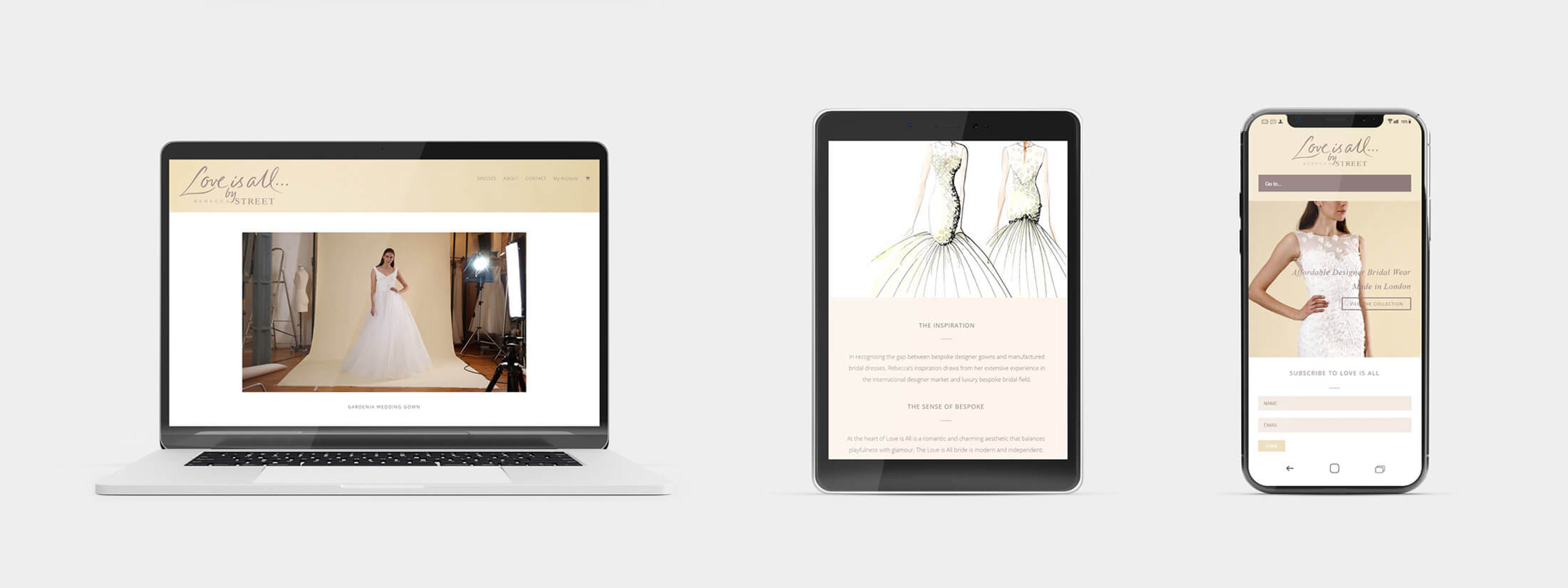 Responsive Web Design on Various Devices - For a Wedding Business