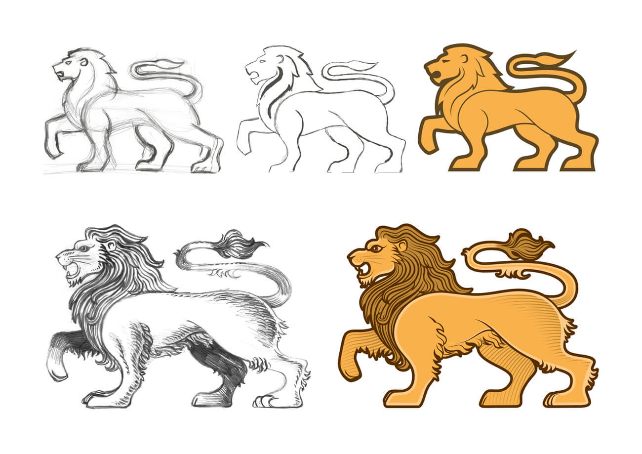 Illustrated Lion Development for the Shield