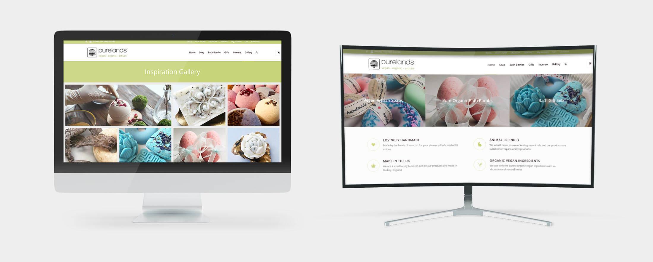 Purelands Vegan Gifts - Web Design Desktop Views