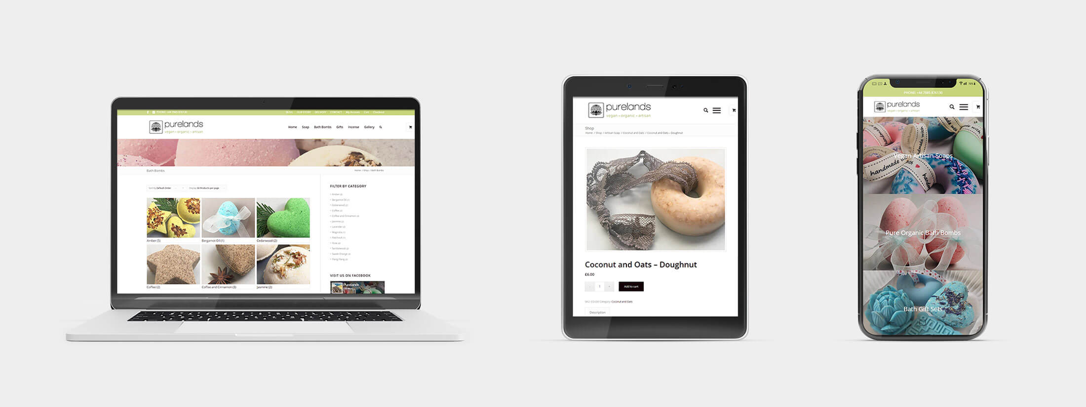 Purelands Vegan Gifts - Responsive Web Design Layouts on Various Devices