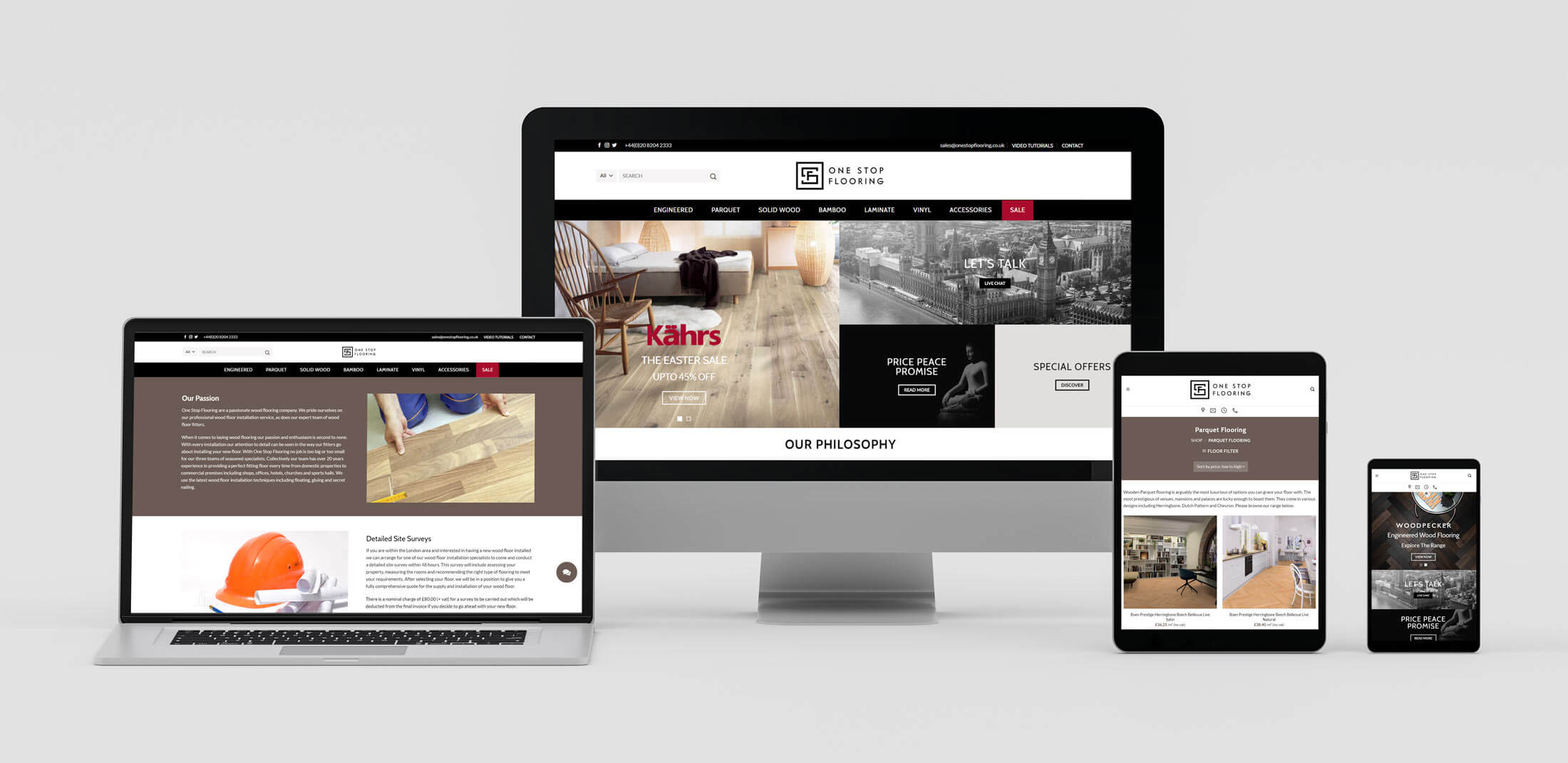 Responsive Web Design Layouts on Various Devices - Wood Flooring Company
