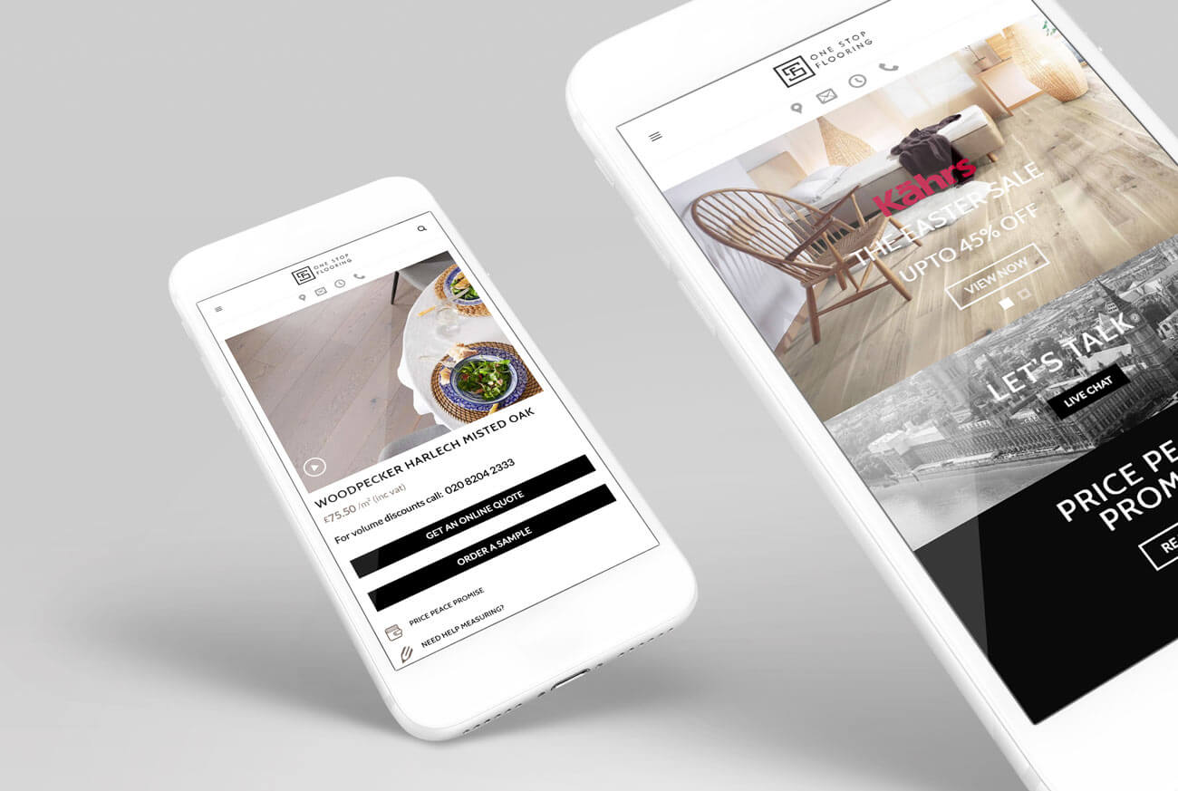 Web Design Mobile Views for a Wood Flooring Company
