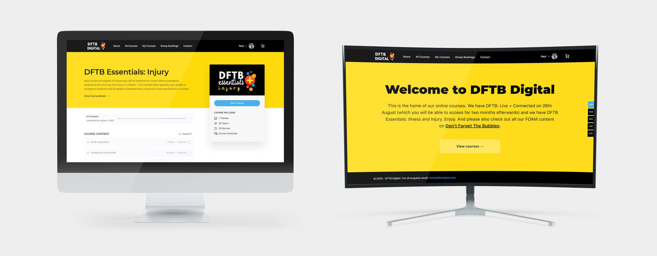 DFTB Digital Responsive Web Design - Desktop Views