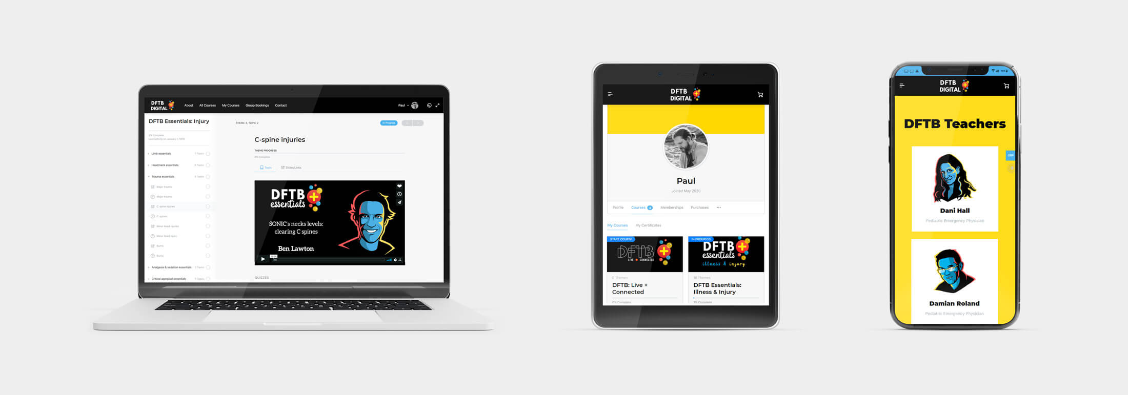DFTB Digital Responsive Web Design - Laptop and Mobile Device Views